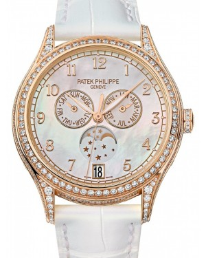 Patek Philippe Complications Ladies Annual Calendar Moon Phase White MOP Arabic Dial Rose Gold Diamond Bezel White Leather 38mm 4948R-001  BRAND NEW