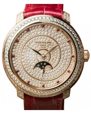 Patek Philippe 4968-400R-001 Ladies Complications 33.3mm Diamond Paved Dial and Bezel Rose Gold Leather BRAND NEW