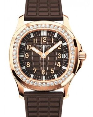 Patek Philippe 5068R-001 Aquanaut Ladies 35.6mm Embossed Brown Arabic Diamond Bezel Rose Gold Composite Automatic BRAND NEW