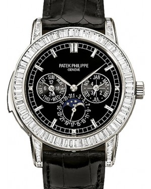 Patek Philippe 5073P-001 Complications Day-Date Annual Calendar Moon Phase 42mm Black Index Platinum Diamond Set Automatic BRAND NEW