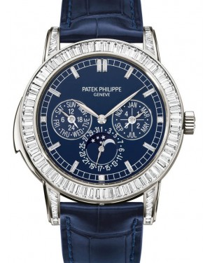 Patek Philippe 5073P-010 Grand Complications Day-Date Annual Calendar Moon Phase 42mm Blue Index Platinum Diamond Set Automatic BRAND NEW