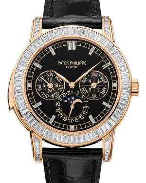 Patek Philippe 5073R-001 Grand Complications Day-Date Annual Calendar Moon Phase 42mm Black Index Rose Gold Diamond Set Automatic BRAND NEW