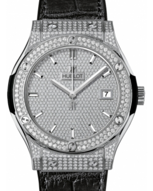 Hublot Classic Fusion 511.NX.9010.LR.1704 Diamond Paved Diamond Set Case Titanium & Leather 45mm BRAND NEW