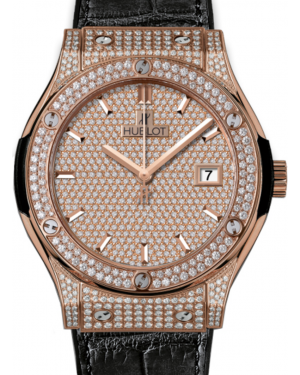Hublot Classic Fusion 511.OX.9010.LR.1704 Diamond Paved Diamond Set Case Rose Gold & Leather 45mm BRAND NEW