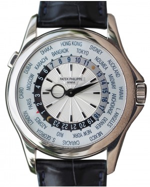 Patek Philippe 5130G-019 Complications World Time 39.5mm Silver White Gold Automatic BRAND NEW