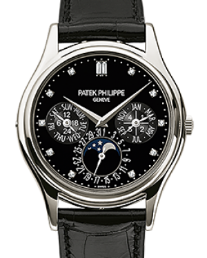 Patek Philippe Grand Complications Annual Calendar Moon Phase Black Diamond Dial Platinum Bezel Black Leather Strap 37.2mm 5140P-013 - BRAND NEW