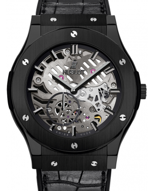 Hublot Classic Fusion Classico 515.CM.0140.LR Skeleton Index Black Ceramic & Leather 45mm BRAND NEW
