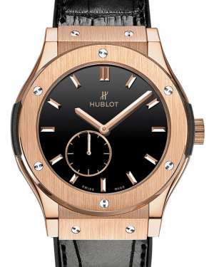 Hublot Classico Ultra-Thin 515.OX.1280.LR Black Index Rose Gold & Leather 45mm BRAND NEW