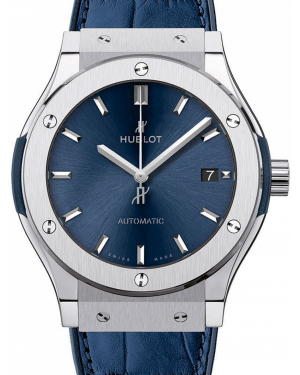 Hublot Classic Fusion Blue 516.NX.7170.LR Index Titanium & Leather 45mm BRAND NEW