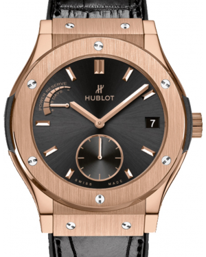Hublot Classic Fusion Power Reserve 516.OX.1480.LR Black Index Rose Gold & Leather 45mm BRAND NEW