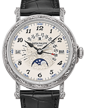 Patek Philippe 5160-500G-001 Grand Complications 38mm Silver Opaline Arabic White Gold Leather BRAND NEW