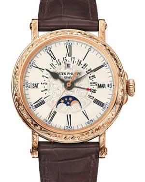 Patek Philippe 5160R-001 Grand Complications Perpetual Calendar Day Month Moon Phase 38mm White Opaline Roman Rose Gold Leather Automatic BRAND NEW