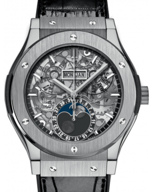 Hublot Classic Fusion 517.NX.0170.LR Skeleton Index Titanium & Leather 45mm BRAND NEW