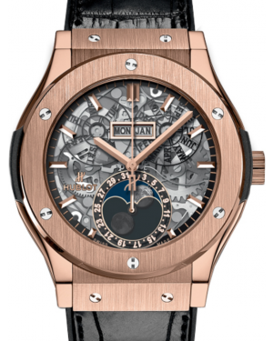 Hublot Classic Fusion 517.OX.0180.LR Skeleton Index Rose Gold & Leather 45mm BRAND NEW