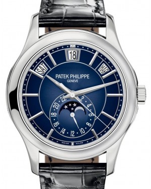 Patek Philippe Complications Blue Sunburst Index Dial White Gold Bezel Blue Leather Strap 40mm 5205G-013 - BRAND NEW