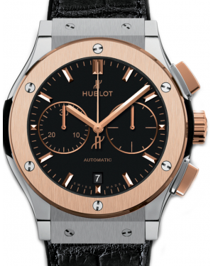 Hublot Classic Fusion Chronograph 521.NO.1181.LR Black Index Rose Gold Bezel & Titanium Leather 45mm BRAND NEW