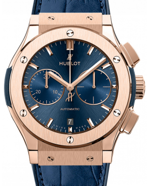 Hublot Classic Fusion Blue 521.OX.7180.LR Index Rose Gold & Leather 45mm BRAND NEW