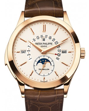 Patek Philippe 5216R-001 Grand Complications Perpetual Calendar Day Month Moon Phase 39.5mm Silver Opaline Index Rose Gold Leather Manual BRAND NEW