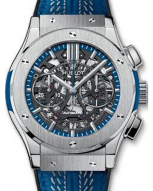 Hublot Classic Fusion Aerofusion 525.NX.0123.VR.NYG16 Skeleton Index Titanium & Blue Leather 45mm BRAND NEW