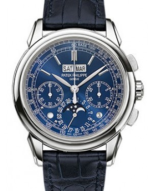 Patek Philippe 5270G-019 Grand Complications Perpetual Calendar Day Month Moon Phase 41mm Blue Index White Gold Leather Manual BRAND NEW