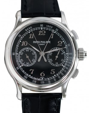 Patek Philippe 5370P-001 Grand Complications Chronograph 41mm Black Arabic Platinum Leather Manual BRAND NEW
