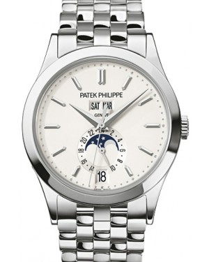 Patek Philippe Complications Day-Date Annual Calendar Moon Phase Silver Opaline Index Dial White Gold Bezel & Bracelet 38.5mm 5396/1G-010 - BRAND NEW