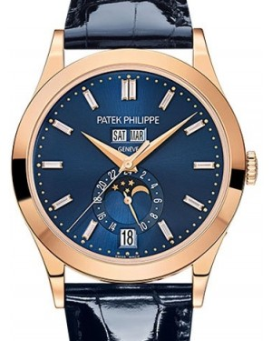 Patek Philippe Complications Rose Gold Blue Baguette Diamond Dial Leather 38.5mm 5396R-015 - BRAND NEW