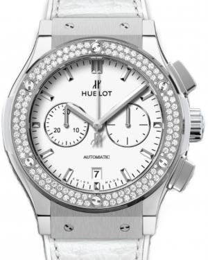 Hublot Classic Fusion Chronograph 541.NE.2010.LR.1104 White Index Diamond Bezel & Titanium Case Leather 45mm BRAND NEW