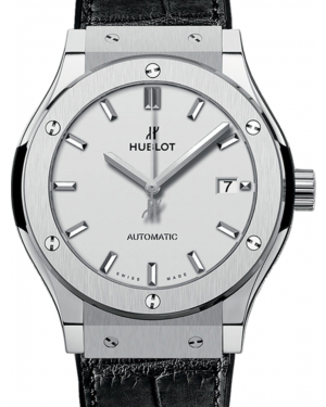 Hublot Classic Fusion 542.NX.2611.LR Silver Index Titanium & Leather 42mm BRAND NEW