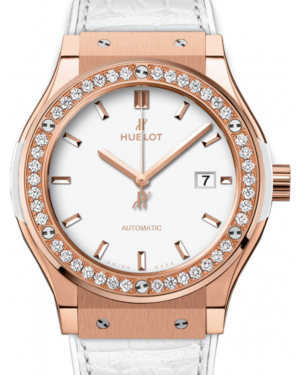Hublot Classic Fusion 542.OE.2080.LR.1204 White Index Diamond Bezel & Rose Gold Case Leather 42mm BRAND NEW