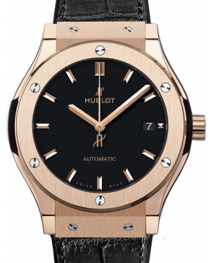 Hublot Classic Fusion 542.OX.1181.LR Black Index Rose Gold & Leather 42mm BRAND NEW