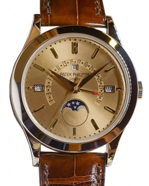 Patek Philippe 5496P-014 Grand Complications Perpetual Calendar Day-Date Moon Phase 39.5mm Honey Brown Index Platinum Leather Automatic BRAND NEW