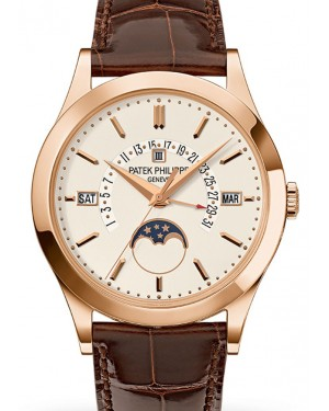 Patek Philippe 5496R-001 Grand Complications Perpetual Calendar Day-Date Moon Phase 39.5mm Silver Opaline Index Rose Gold Leather Automatic BRAND NEW