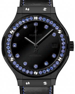 Hublot Classic Fusion Shiny 565.CX.1210.VR.1201 Black Dial Blue Sapphire Bezel Black Ceramic & Leather 38mm BRAND NEW