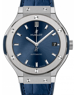 Hublot Classic Fusion Blue 565.NX.7170.LR Index Titanium & Leather 38mm BRAND NEW