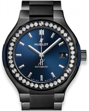 Hublot Classic Fusion Ceramic Blue Bracelet Diamonds 568.CM.7170.CM.1204 Blue Index Diamond Bezel Ceramic 38mm - BRAND NEW
