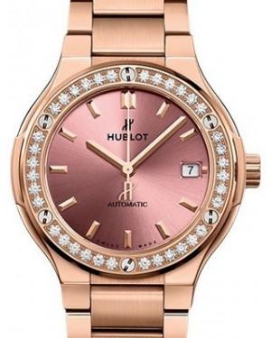Hublot Classic Fusion King Gold Pink Bracelet 568.OX.891P.OX.1204 Pink Index Diamond Bezel King Gold 38mm - BRAND NEW