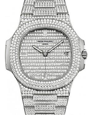 Patek Philippe 5719/1G-001 Nautilus 40mm White Gold Diamond Pave White Gold Diamond Set Automatic BRAND NEW