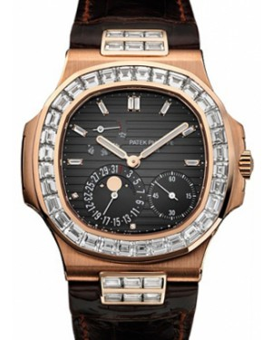 Patek Philippe 5724R-001 Nautilus 40mm Black Baguette Diamond Bezel Moon Phase Date Rose Gold Leather Automatic BRAND NEW