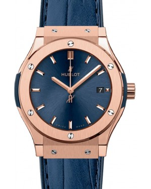 Hublot Classic Fusion 581.OX.7180.LR Blue Index Rose Gold & Leather 33mm BRAND NEW