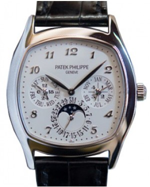 Patek Philippe 5940G-001 Grand Complications Perpetual Calendar Day-Date Moon Phase 37 × 44.6mm Silver Opaline Arabic White Gold Leather Automatic - BRAND NEW