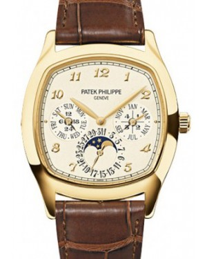 Patek Philippe Grand Complications Perpetual Calendar Day-Date Moon Phase Cream Arabic Yellow Gold Leather 37 × 44.6mm 5940J-001 - BRAND NEW