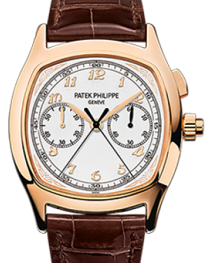 Patek Philippe 5950R-001 Grand Complications 37 × 44.6mm Silver Satin Arabic Rose Gold Leather - BRAND NEW