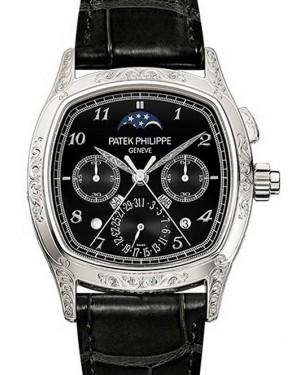 Patek Philippe 5951/500P-001 Grand Complications Perpetual Calendar Moon Phase Chronograph 37 × 45mm Black Arabic Platinum Leather Manual - BRAND NEW