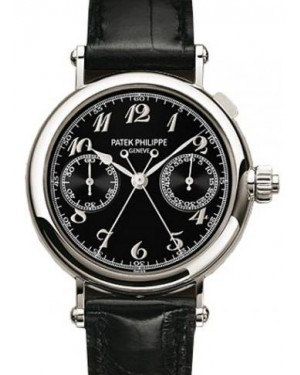 Patek Philippe 5959P-011 Grand Complications Chronograph 33mm Black Arabic Platinum Leather Manual BRAND NEW