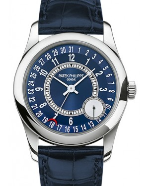 Patek Philippe 6000G-012 Calatrava 37mm Blue Sunburst Arabic Date White Gold Leather BRAND NEW
