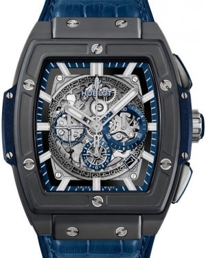 Hublot Spirit Of Big Bang Ceramic Blue Skeleton Index Dial Ceramic Bezel Leather Strap 45mm 601.CI.7170.LR - BRAND NEW