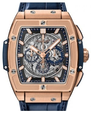 Hublot Spirit Of Big Bang King Gold Blue Skeleton Index Dial King Gold Bezel Leather Strap 45mm 601.OX.7180.LR - BRAND NEW