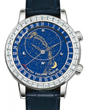 Patek Philippe 6104G-001 Grand Complications Date Chronograph 44mm Blue Sky Chart Baguette Bezel White Gold Leather Manual BRAND NEW