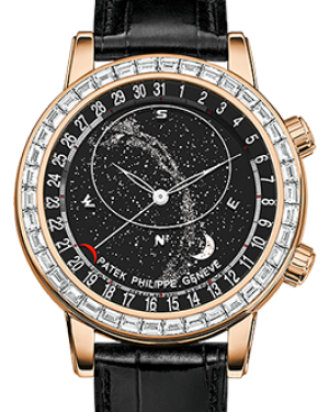 Patek Philippe 6104R-001 Grand Complications 44mm Black Sky Chart Diamond Bezel Rose Gold Leather BRAND NEW